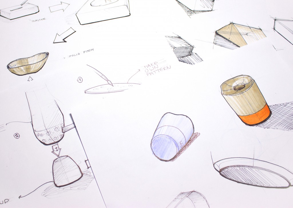 Sketches from one of our social design services; responsible product design